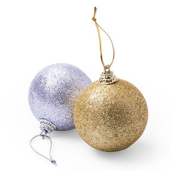 Adorno Bolas De Navidad Dorado Plata Textilon